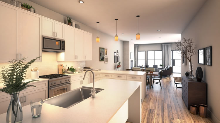Group Realty - Dallas-Based Real Estate Marketing Firm - Meridian Square Kitchen & Living Room